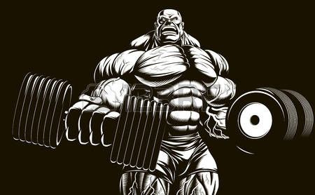 Vector illustration, bodybuilder doing exercise with dumbbells for biceps