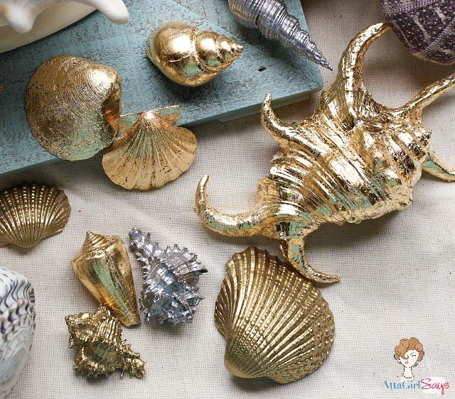 Gilded Seashells: Two Ways | Painted sea shells, Sea ...