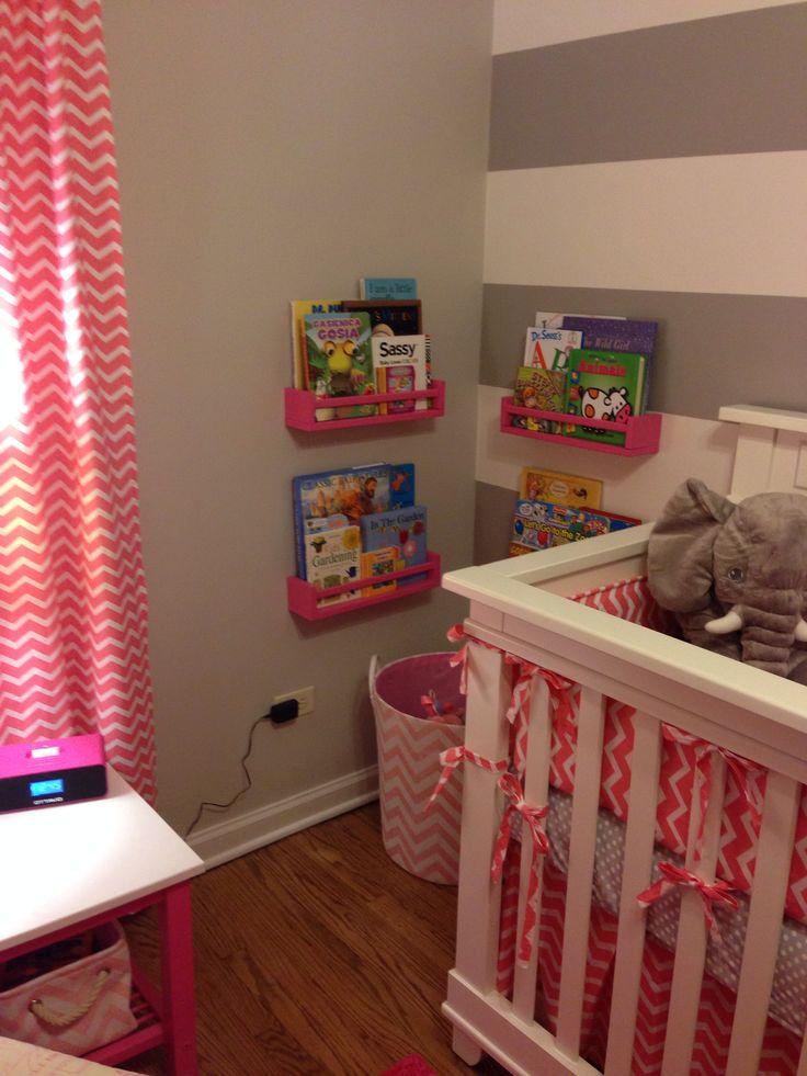 Pink & Gray Baby Girl nursery. Chevron, polka dots and elephants! IKEA spice racks book shelves.