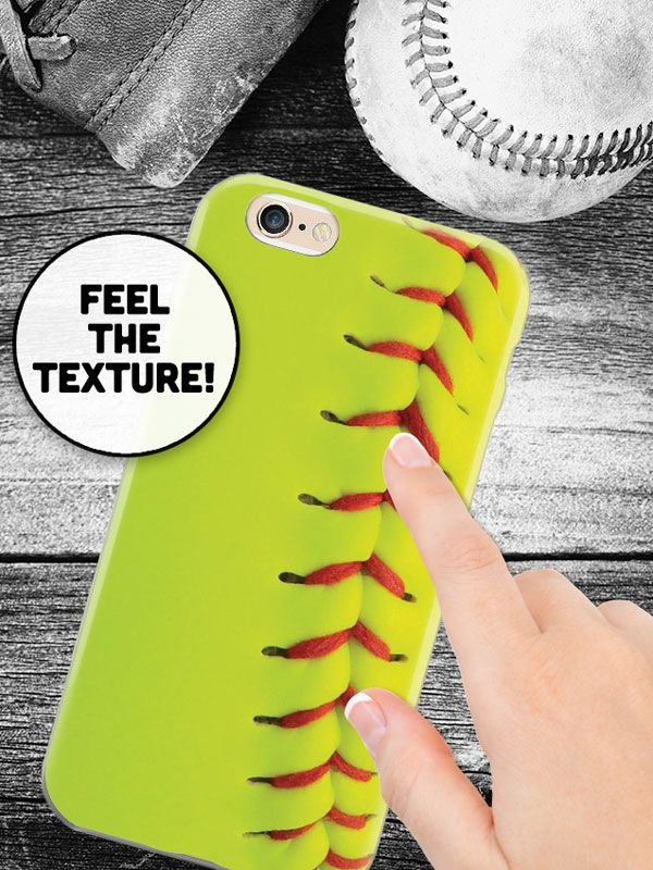 Do you love softball? Get this cellphone case now and feel the texture of the laces thanks to our layered ink printing. Available now for only $15! #softball