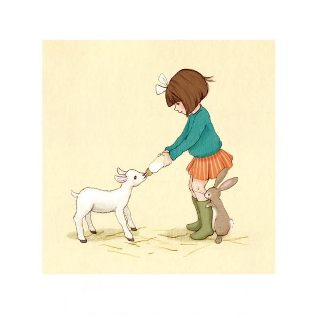 "Belle & Her Little Lamb 10"" x 10"" Print"