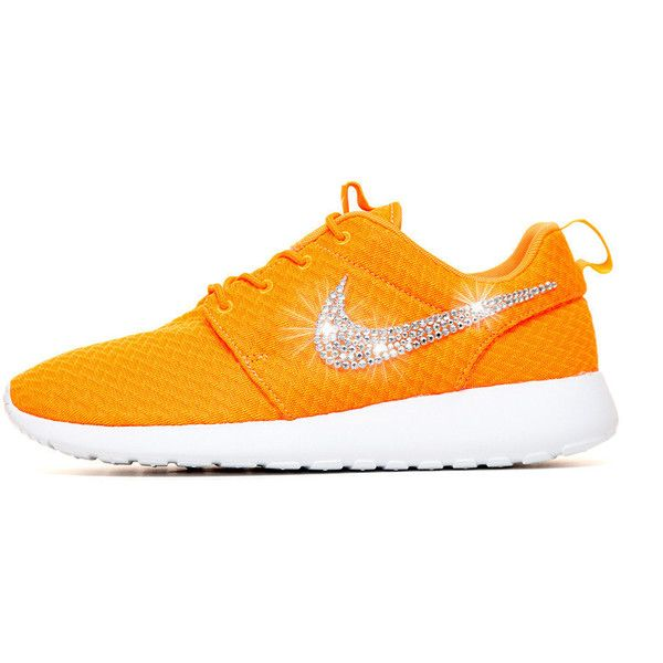Blinged Nike Roshe Run Shoes Total Orange Customized With Swarovski... ($150) ❤ liked on Polyvore featuring shoes, athletic shoes, light pink, sneakers & athletic shoes, tie sneakers, women's shoes, rhinestone shoes, swarovski crystal shoes, light pink shoes and light pink running shoes