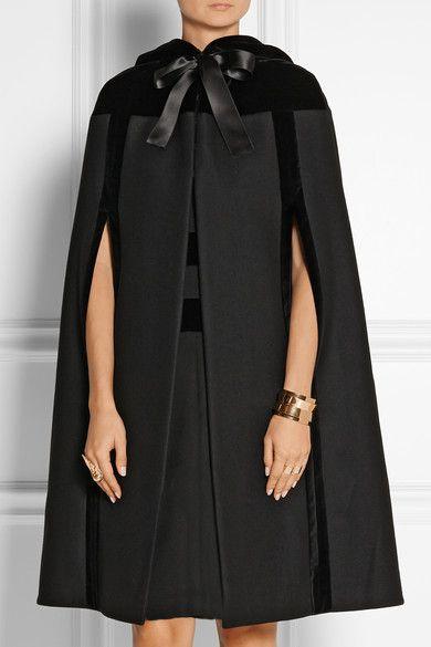 Hooded velvet-trimmed wool cape Alexander McQueen