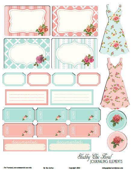 Free Printable Download -  Shabby Chic Floral II Journaling Elements