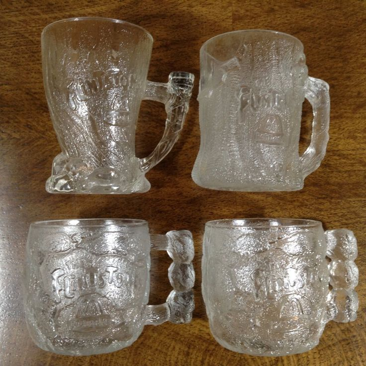 "Lot Of 4 Mcdonalds ""flinstones"" Rocdonalds Clear Glass Coffee Mugs 1993 Nice Euc"