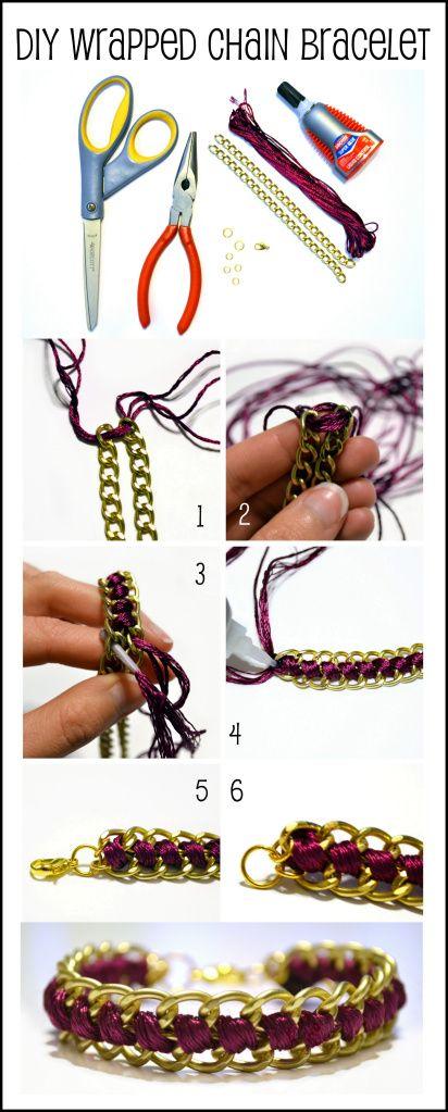 DIY Wrapped Chain Bracelet