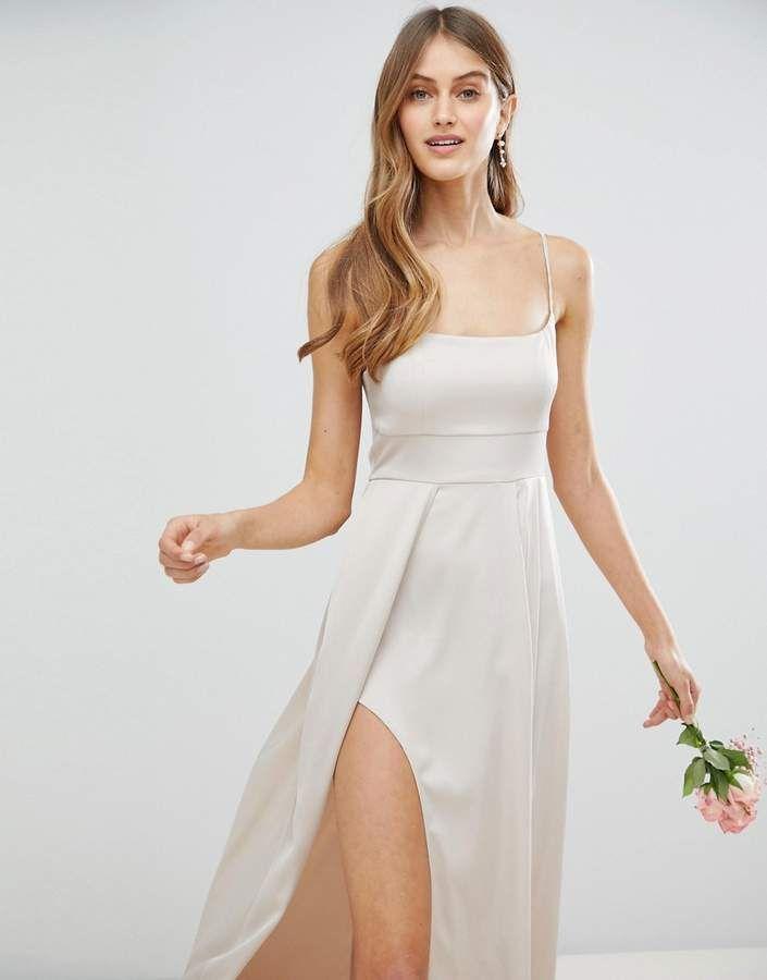 6789f5857a2 Asos DESIGN satin square neck cami strap maxi dress #satin#square#Asos