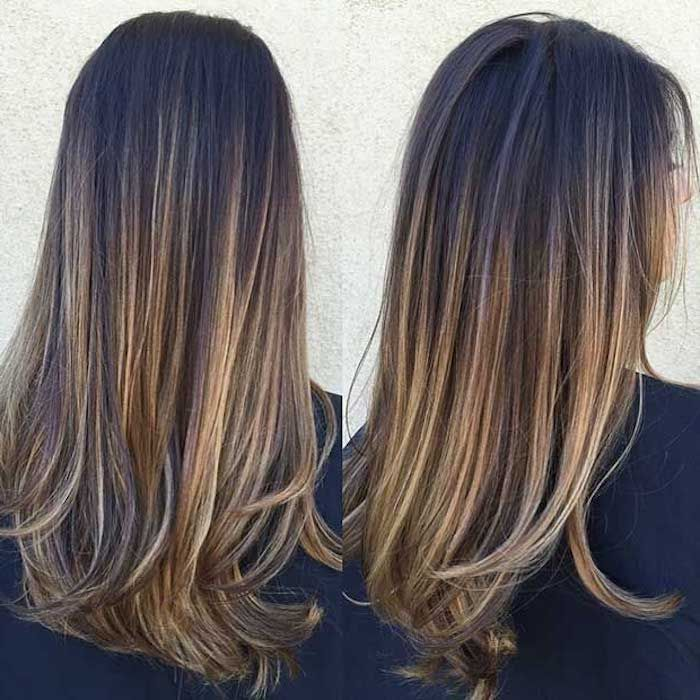 Different Angles Showing Woman With Dark Brunette Hair And Blonde Highlights Straight Hai In 2020 Brown Hair With Blonde Highlights Brown Blonde Hair Balayage Brunette