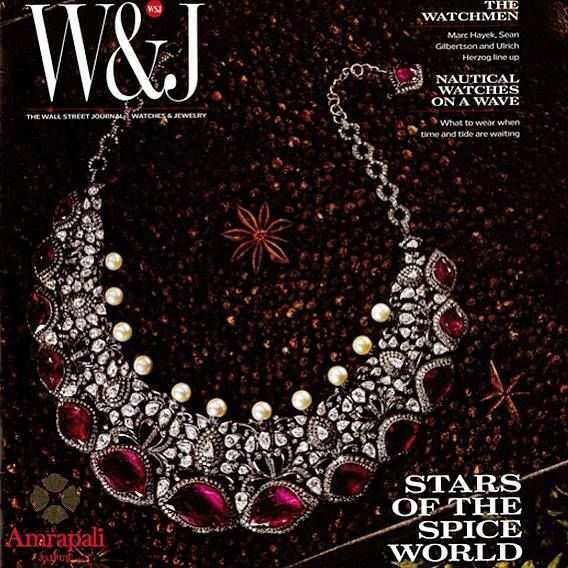#amrapali Lotus Ruby Diamond Necklace featured on the cover of Wall Street Journal. #Amrapali is at #ForumCourtyard in Kolkata.
