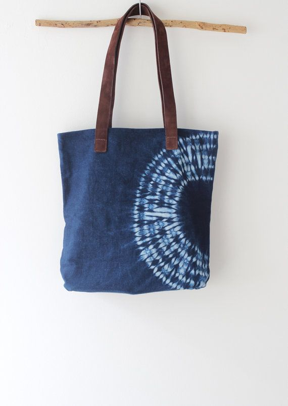 Natural Indigo dye handbag with leather handles, Shibori dye handbag, Blue handbag, casual bag, bohemian bag, white casual bag, gift for her