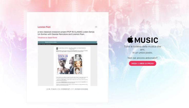 Follow Pop In Classic, classical crossover project on Apple Music! #desireerancatore #lorenzopiani #popinclassic #lelebarleraarrager #senzaunsorriso https://itunes.apple.com/it/post/idsa.099926a1-94ed-11e5-8c5a-9ecfa5b3f9b8