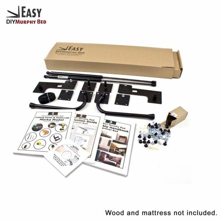 Queen-Size Hágalo usted mismo kit de hardware de pared de cama Murphy horizontal de montaje en pared (hacia los lados)