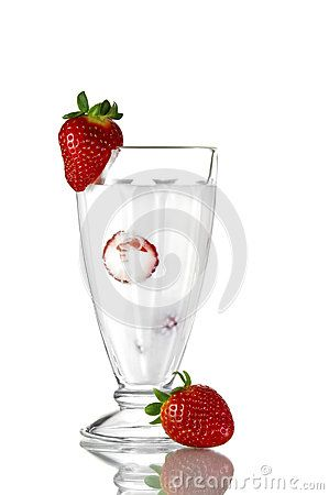 Strawberry cocktail with fresh berry on  glass. isolated on white background .