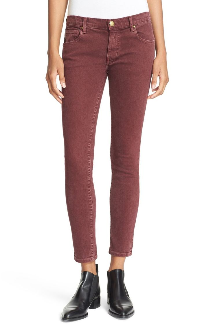 A lightly sanded wine-red hue signals a new season for low-rise jeans in this curve-hugging silhouette that hits just above the ankles.