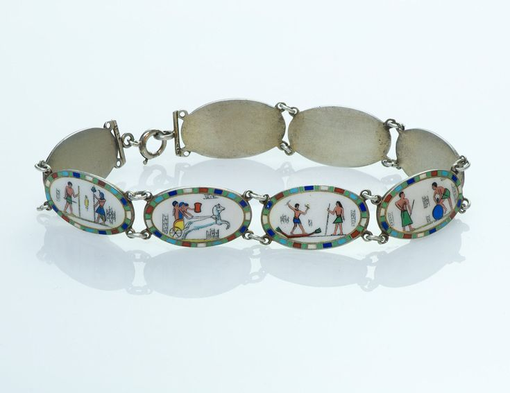 Egyptian Revival Silver Enamel Bracelet | eBay