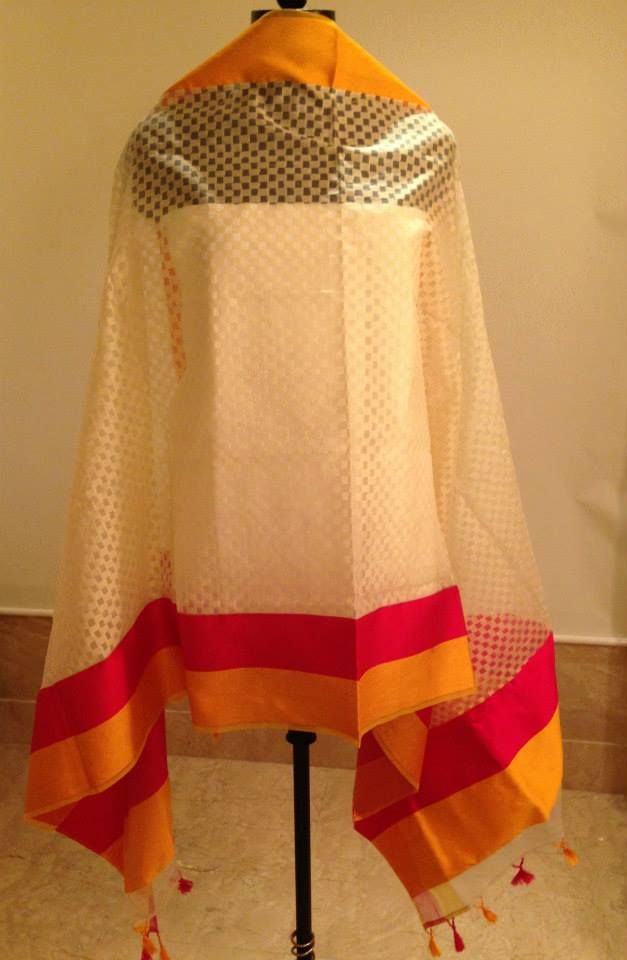 Chanderi Dupatta with woven Resham borders. For orders and inquiries, please mail us at naari@aninditacreations.com.  Like our page at www.facebook.com/naari.aninditacreations