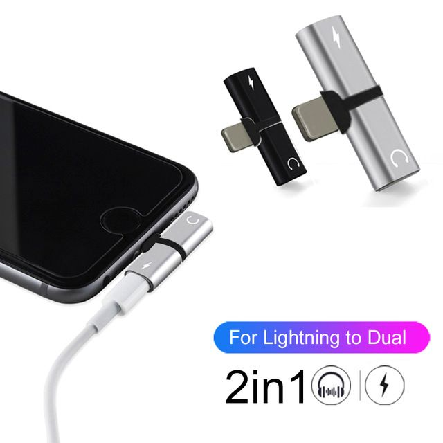 For Iphone X 10 7 8 Plus Audio Charging Dual Adapter Splitter Cable For Lightning Jack To Earphone Aux Cable Connector Converter Review Earphone Lightning Jack Charger Adapter