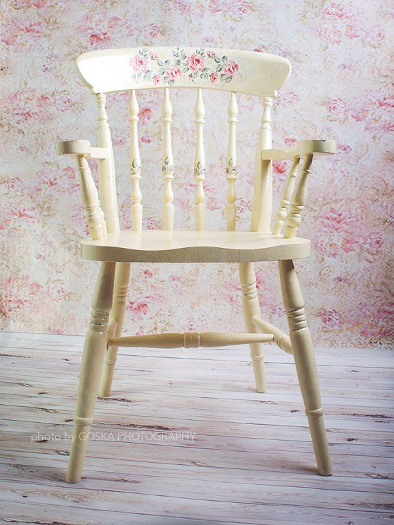 Vintage Shabby Chic Wooden Decoupage Dinning Chair wit Rose Motives