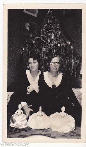1930's Women Posing with Half Dolls Christmas