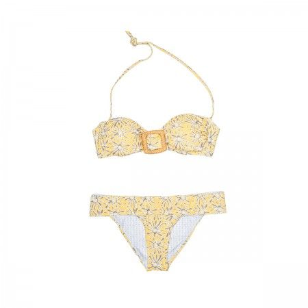 Lacrom - Kc Beachwear - Bikini Two pieces swimsuit. Strapless bikini top with a lateral clasp. The bikini bottom has a a fold-over waistband which can be adjusted to the perfect rise.
