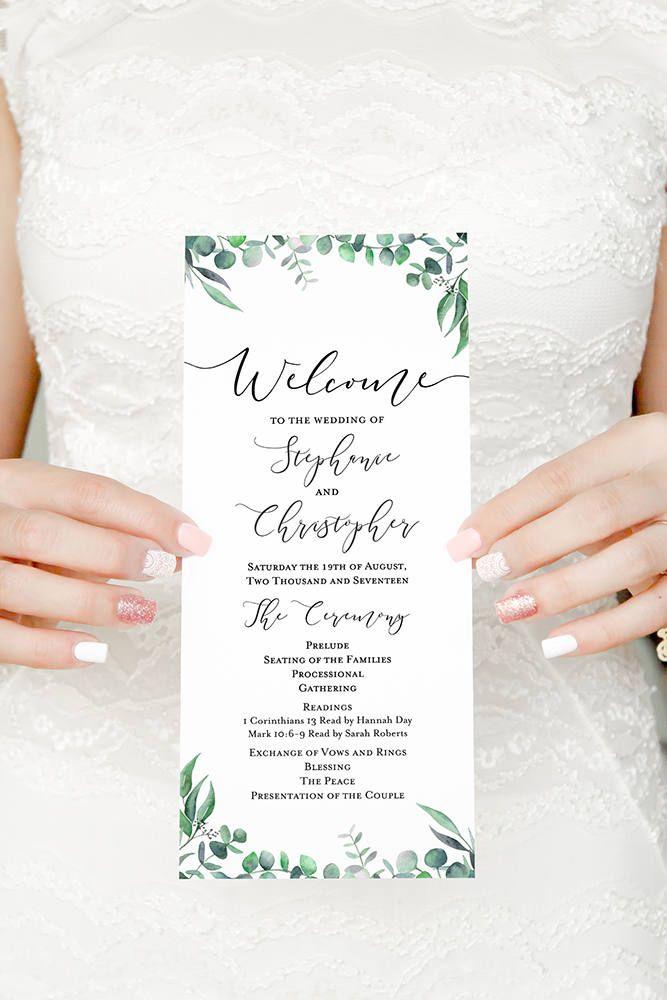 eucalyptus program ceremony program wedding program timeline order