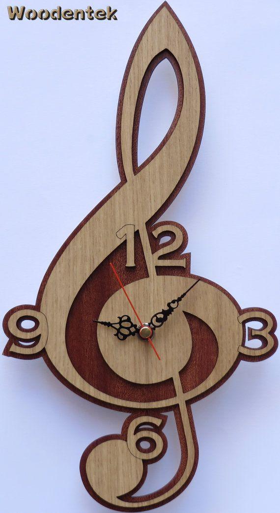 "Cool detailed trebel clef wood clock ~ AA battery ~ 13"" x 7"""
