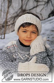 Hair band and mittens in Eskimo ~ DROPS Design