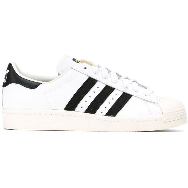 Adidas Superstar 80s Sneakers ($105) ❤ liked on Polyvore featuring shoes, sneakers, adidas, white, adidas trainers, leather sneakers, flat shoes, adidas shoes and lace up sneakers