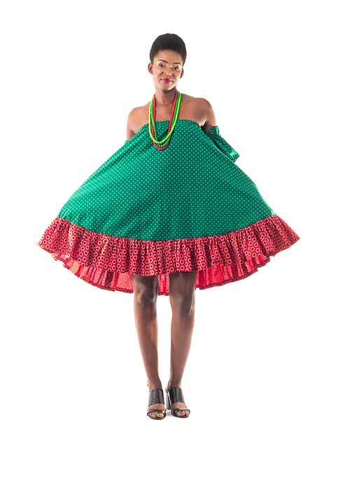 Shumikazi Green Flair Dress