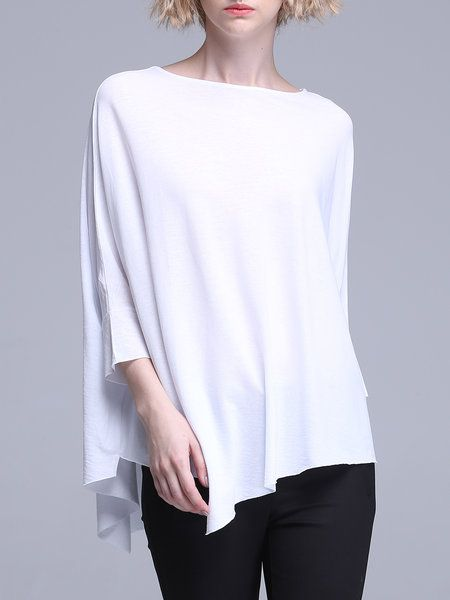 Shop T-Shirts - White Asymmetrical Batwing T-Shirt online. Discover unique designers fashion at StyleWe.com.