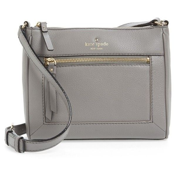 Women's kate spade new york 'cobble hill - deni' leather crossbody bag ($150) ❤ liked on Polyvore featuring bags, handbags, shoulder bags, hare grey, gray leather purse, leather cross body purse, gray leather handbag, leather purse and grey leather purse