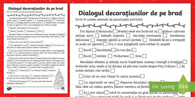 Dialogul decorațiunilor de pe brad Scrie semnele de punctuație - Christmas, Crăciun, brad, decorațiuni, globuri, dialog, discuții, semne de punctuație, linie de