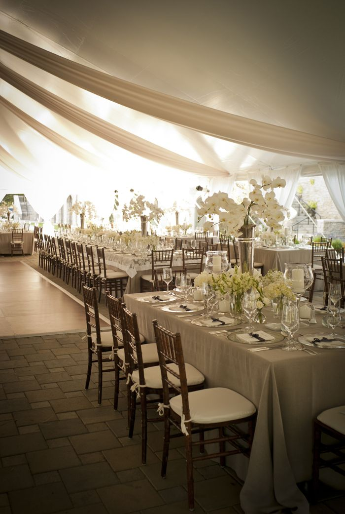 outdoor weddings near akron ohio%0A neutral tent reception with fabric swags  VivaBella Classic Elegance at the  Greenacres Art Center