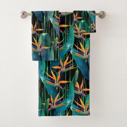 Bold  Colorful Tropical Bird of Paradise Plants Bath Towel Set - diy cyo personalize design idea new special