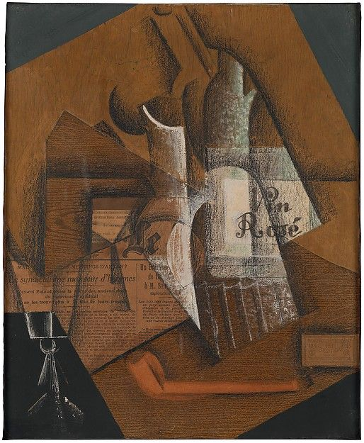 "Juan Gris (Spanish,1887–1927). Bottle of Rosé Wine, 1914. The Metropolitan Museum of Art, New York. Promised Gift from the Leonard A. Lauder Cubist Collection | This work is on view in ""Cubism: The Leonard A. Lauder Collection"" through February 16, 2015. #Cubism"