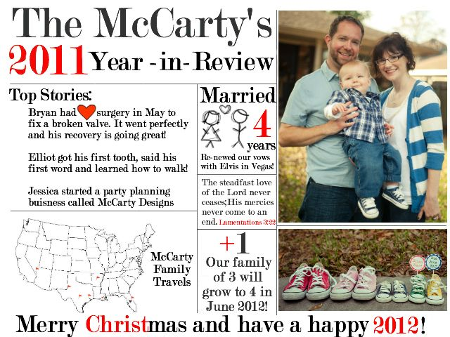 Year in Review Christmas Card @McCartyDesigns.com #Christmas Card. #yearinreview