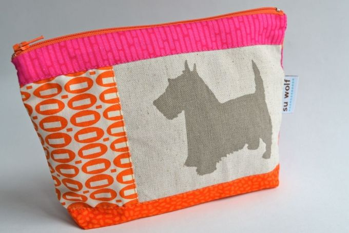 Scottie dog cosmetic purse - pink  orange by Su Wolf on hellopretty.co.za