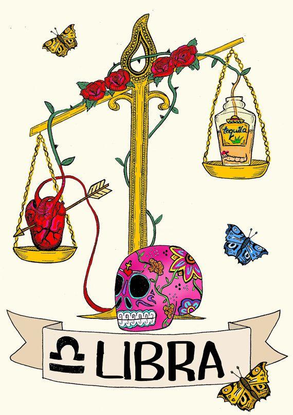 Limited edition LIBRA zodiac sign, Original Illustration, Fine Art Print, Skull, FRIDA KAHLO