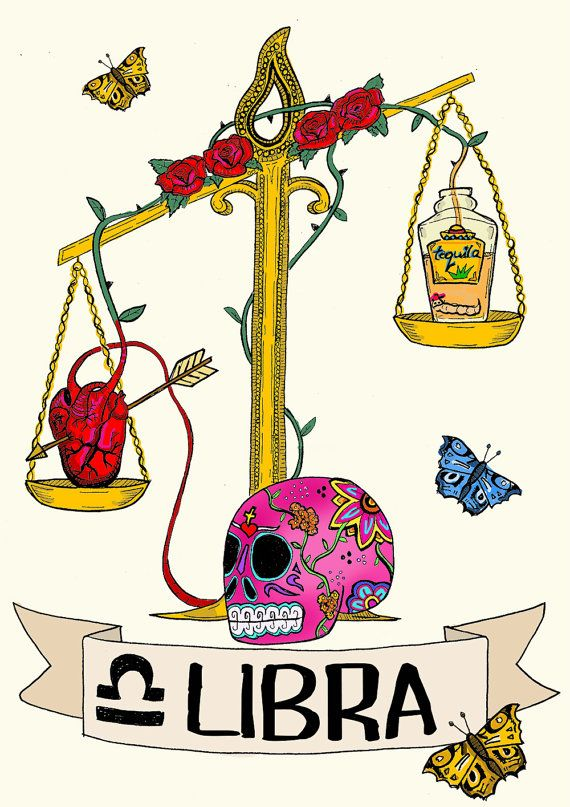 Birthday card LIBRA zodiac sign Original by CorazonBeats on Etsy