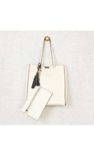 Leather Tassel Tote Bag with Purse