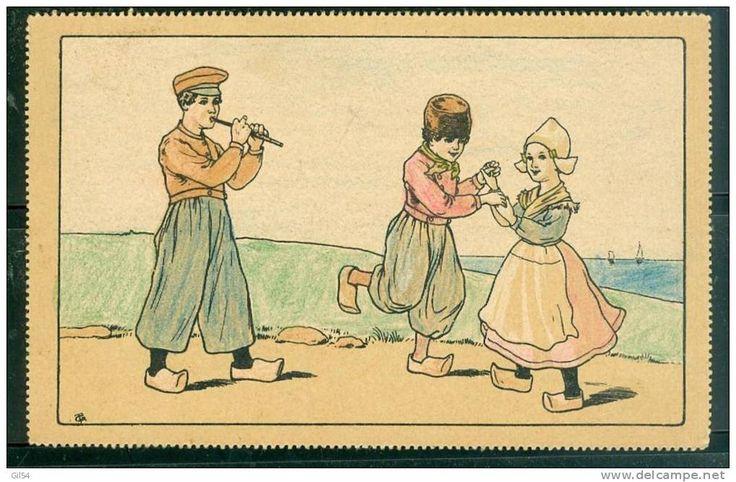 Enfants DANSANT  -  Illustration Non Signée , Cpa D'origine Russe ? - Ul41 - Illustrateurs & Photographes