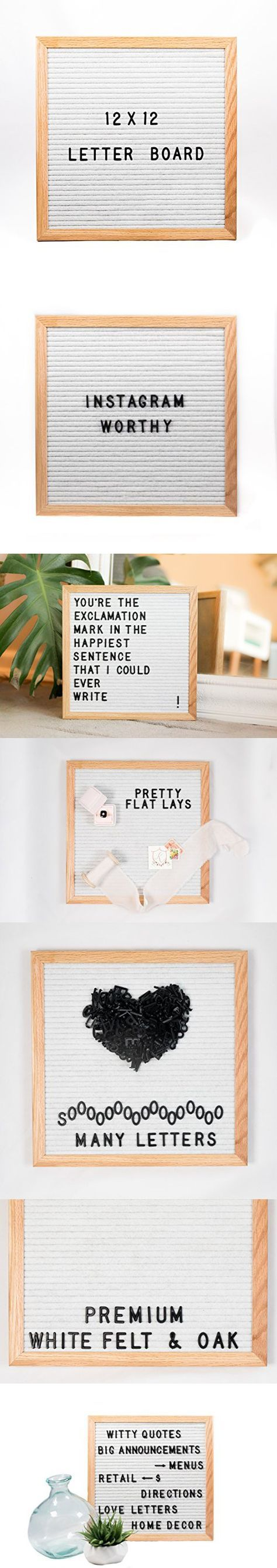 Best Size Letter Board 12 in. X 12 Inches Changeable Letter Sign with Alphabet and Symbols to Make Quotes On White Felt with Wood Oak Frame Perfect for Instagram or Mid Century Modern Home Decor