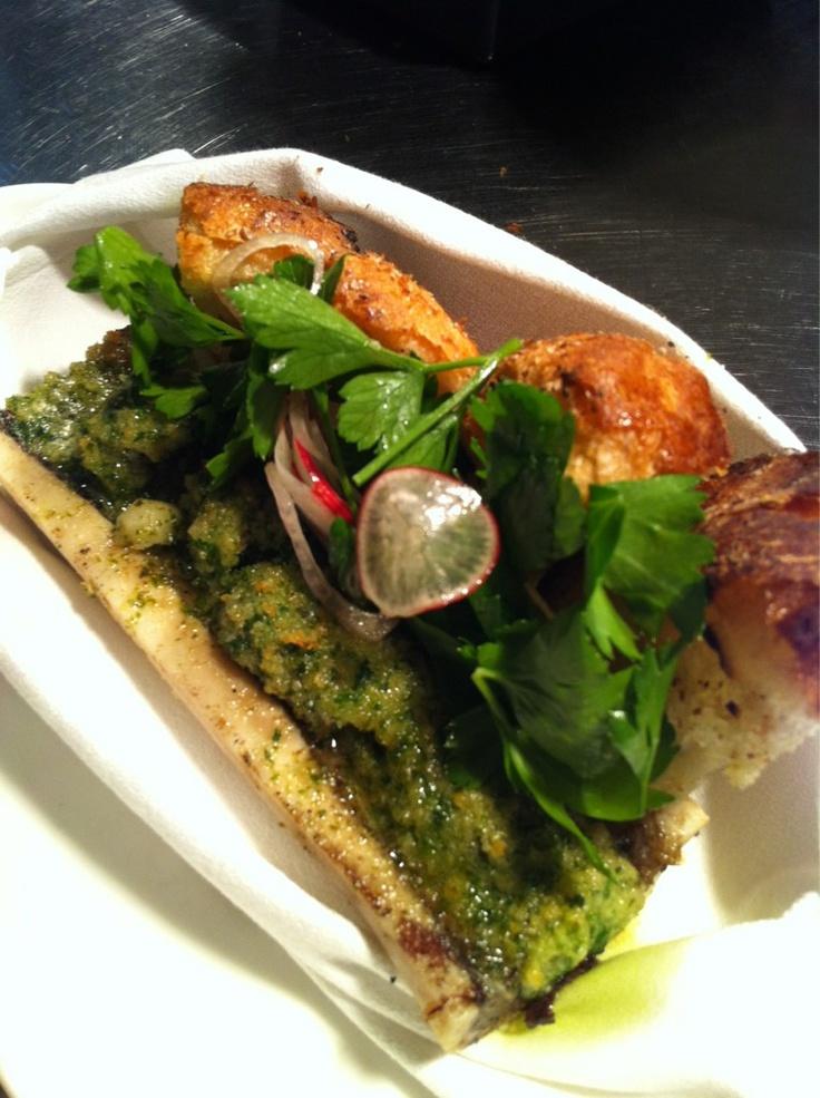 Bone Marrow, Burgandy Escargot, Garlic Crust, James Beard Salad