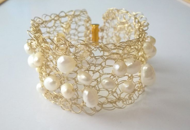 Gold and White Freshwater Pearls Lace Cuff Bracelet Gold Wire Crocheted Bracelet…
