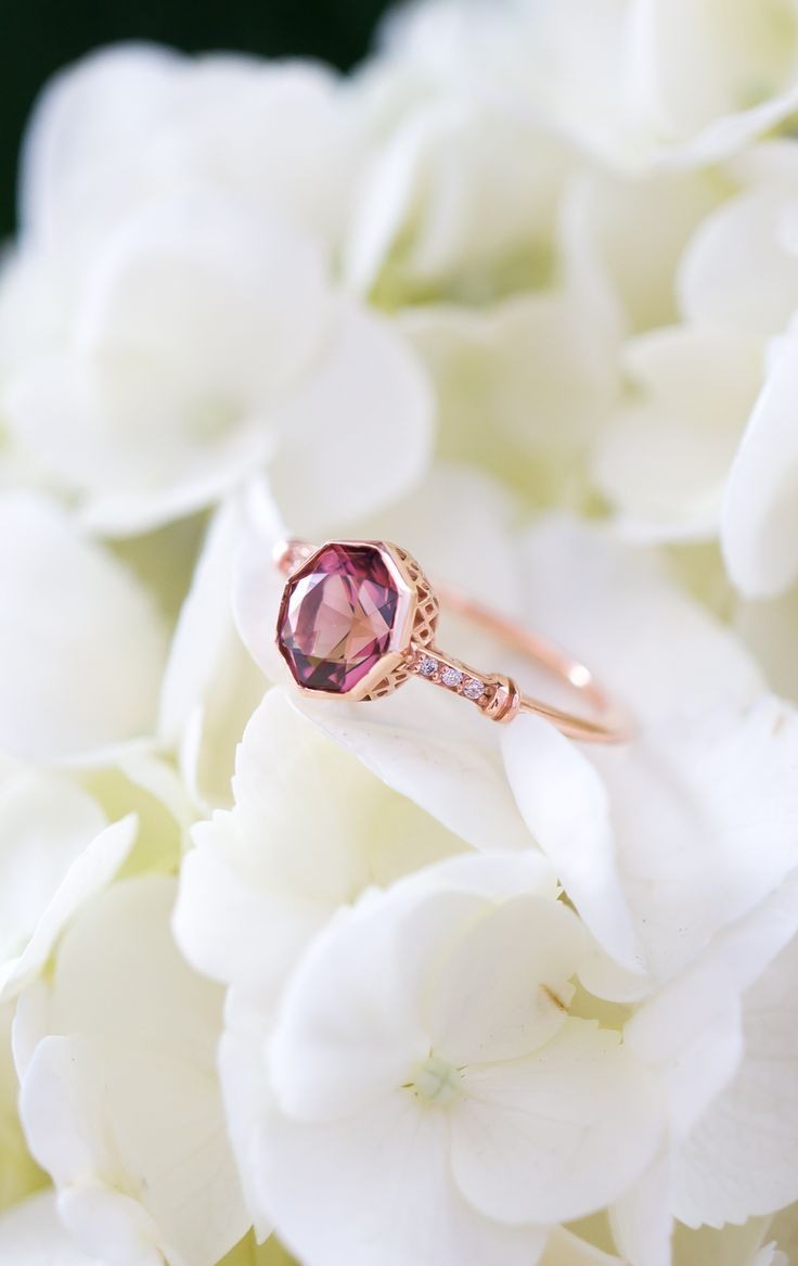 Antique style open-work Pink Tourmaline Engagement Ring in Recycled Rose Gold