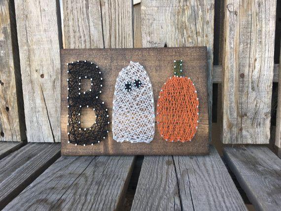 BOO Halloween String Art Wood Sign pumpkins ghost by jodyaleavitt