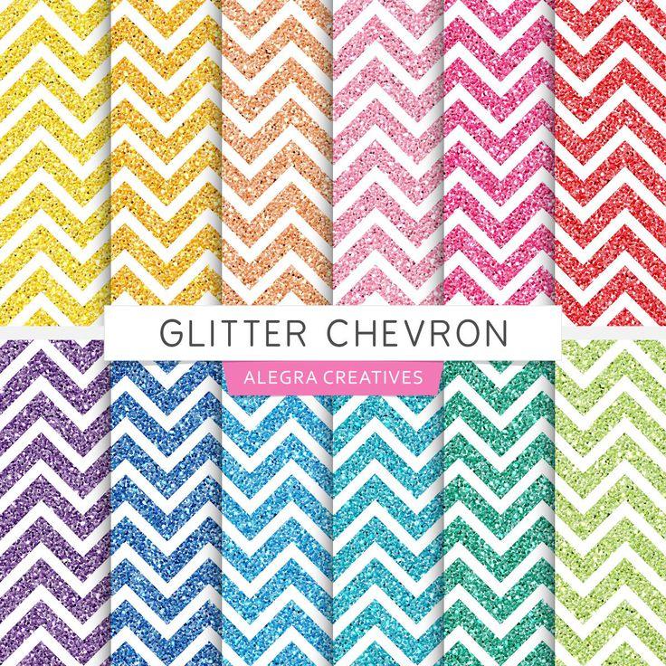 Glitter Chevron Digital Papers