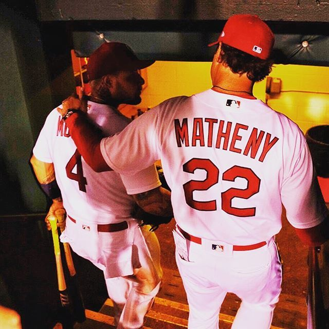 Love this pic... Mike and Yadi following Cards win vs. Padres (8-23-17).