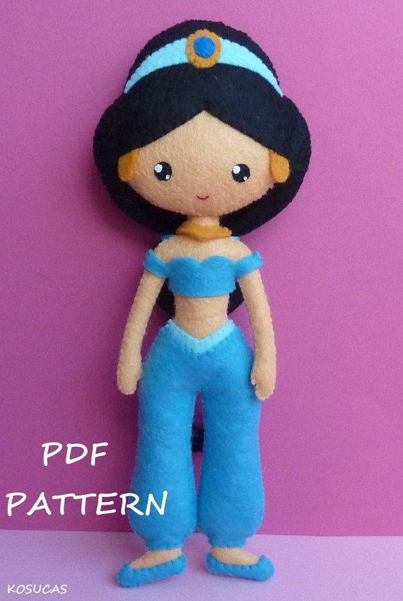 PDF sewing pattern to make a felt doll inspired in Jasmine, 8.6 inches tall. It is not a finished doll. Includes tutorial with pictures and step by