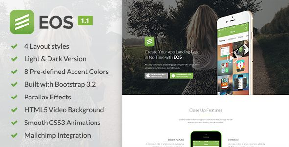 EOS - A Responsive Bootstrap 3 App Landing Page | Nulled Warez